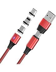 Magnetisk data-kabel typ c till USB 2.0 hane-kabel 3A super Quick Charge-kabel 6 i 1 – magnetisk laddningskabel USB – Quick Detailer USB laddningskabel (röd)