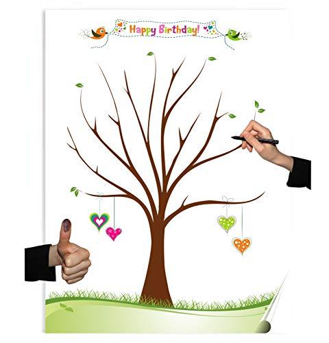 Herzl-Manufaktur Gästebuch Poster zum Geburtstag 30x40cm Partyspiel Fingerabdruckbaum Geschenk Happy Birthday (HB1)