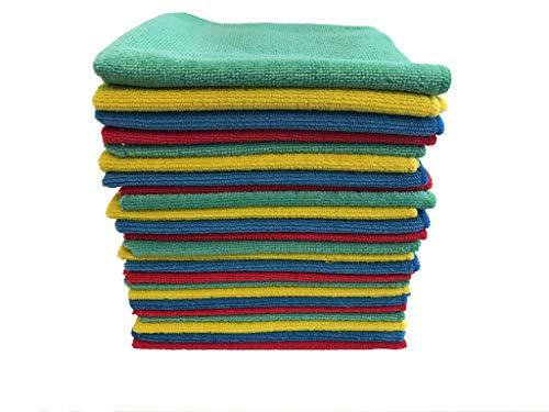 RPG 24 Stück Hochwertige Mikrofaser-Reinigungstücher gemischt (rot, grün, gelb und blau) - Putztuch 40x40 cm Mikrofasertuch Allzwecktücher - Mikrofasertücher in Profi Qualität