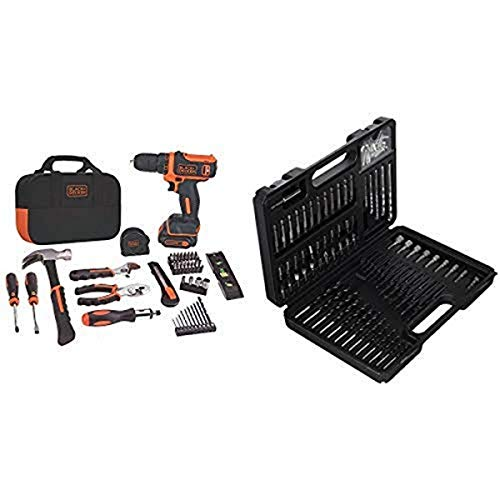 BLACK+DECKER 12V MAX Drill & Home Tool Kit, 60-Piece (BDCDD12PK) with BLACK+DECKER BDA91109 Combination Accessory Set, 109-Piece