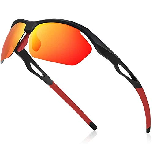 Avoalre Sportsonnebrille Sportbrille Verspiegelte Fahrradbrille Winddicht Sportsonnenbrille Polarisierte Sonnenbrille Herren, Fahrerbrille Skibrille Snowboard Brille Verspiegelt Schneebrille-Rot