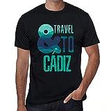 One in the City Hombre Camiseta Vintage T-Shirt Gráfico and Travel To CÁDIZ Negro Profundo