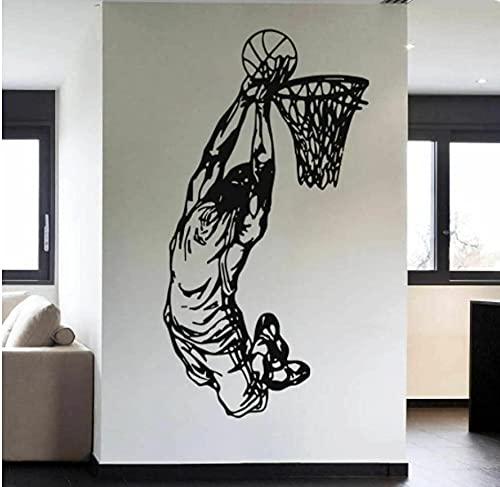 Vinilo para el hogar Art Deco pegatinas de pared jugadores de baloncesto pegatinas de pared equipo de baloncesto juego de baloncesto pegatinas de pared póster juvenil 58X31 CM