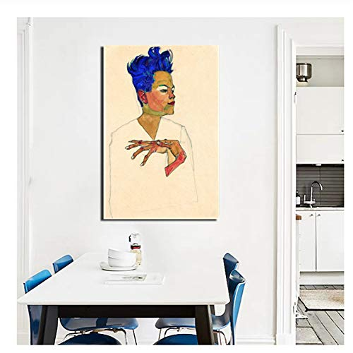 Egon Schiele Selbstporträt Leinwand Malerei Poster Drucke Wandkunst Gemälde Dekoratives Bild Wohnkultur-20x30 Zoll No Frame