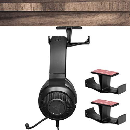 Universal Kopfhörer Stand Hanger, TIUIHU Unter Schreibtisch Dual Headset Halter Halter, Kleiderbügel für Gaming Kopfhörer Kopfhörer, Beats, Sony, Sennheiser, Philips, Bose und DJ (2 Pack)