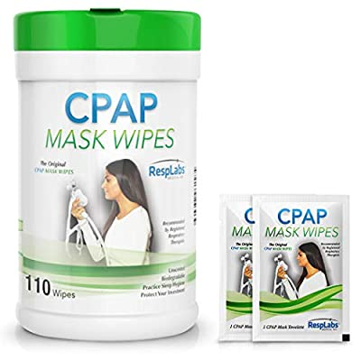 RespLabs Medical CPAP Mask Cleaning Wipes - [110 Pack Plus 2 Travel Wipes] - Biodegradable, Unscented, and Lint-Free by RespLabs Medical Inc.