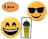 ML Pack 2 x Cojín Emoji con Gafas + un Vaso Emoticono con Pajita. Almohada Emoji Emoticon Relleno Suave Juguete de Peluche