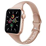DYKEISS Sport Slim Silicone Band Compatible for Apple Watch Band 38mm 42mm 40mm 44mm, Thin Soft Narrow Replacement Strap Wristband for iWatch Series 5/4/3/2/1 Women & Men (Milk Tea, 38mm/40mm)