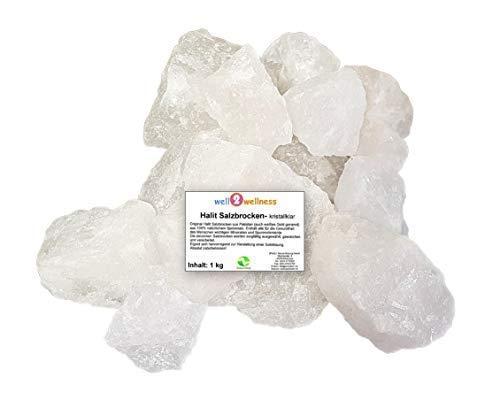 SudoreWell® Halit Salzbrocken Ursalz Kristallsalz aus der Salt Range Pakistan 1,0 kg im PE-Beutel