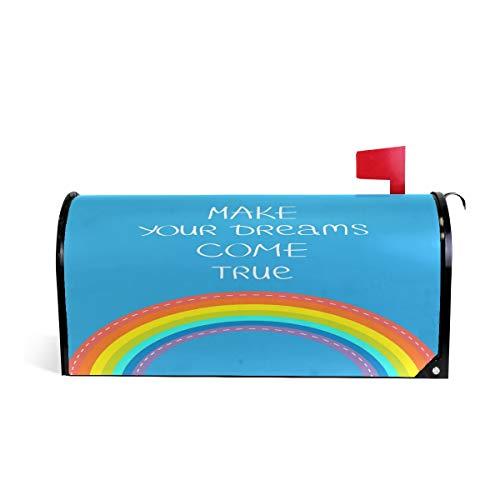 ZZKKO Regenboog maken uw dromen komen waar magnetische brievenbus Cover Wrap Post Brievenbus Cover voor buiten Tuin Home Decor groot formaat 25,5 x 20,8 Inch 20.8