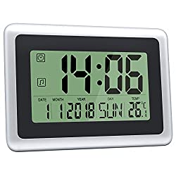 HeQiao Digital Wall Clocks Large Decorative LCD Alarm Clock (Black w/ Silver)