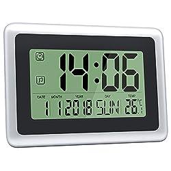 HeQiao Digital Wall Clocks Large Decorative LCD Alarm Clock (Black w/ Silver)
