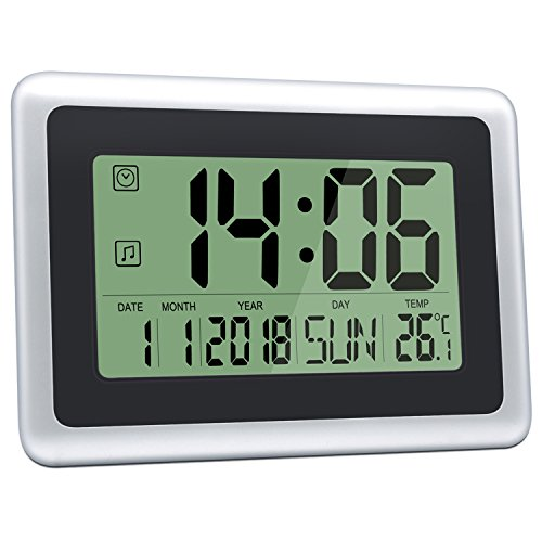 HeQiao Digital Wall Clocks Large Decorative LCD Alarm Clock (Black w/Silver)