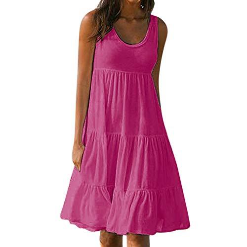 Damen Plissee Kleid Sommerkleid Lose ÄRmellos Rundhals Einfarbig SpleißEn Big Swing Strandkleid TräGerkleid Damen Kleider Swing Kleid Hemd Kleid Festlich Kleider