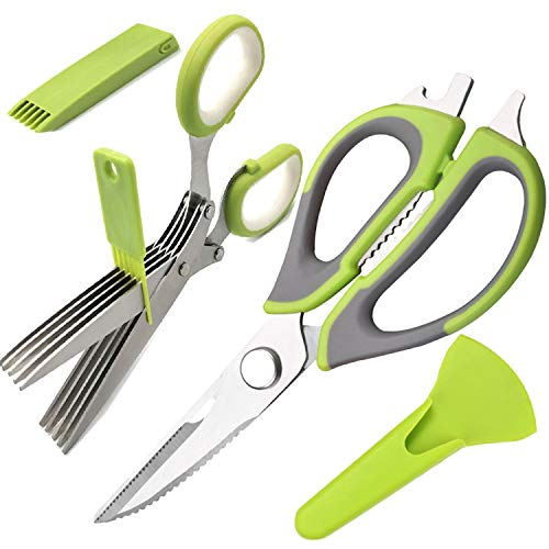 Kitchen Shears Herb Scissors Set Multipurpose Stainless Steel Sharp Heavy Duty Culinary Food Cutter for Meat Poultry Chicken Bone Fish Vegetable Cooking Baking Pizza, Easy Clean Store