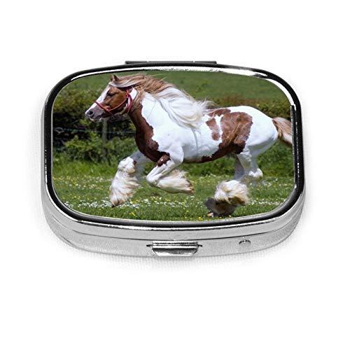 Pastillero organizador de píldoras de carreras de caballos de carreras de caballos caja de medicina de viaje 2 compartimentos diario portátil para monedero, regalo ideal