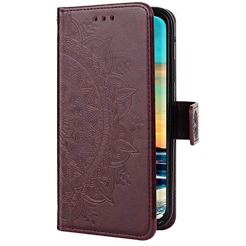 Uposao Kompatibel mit Xiaomi Redmi 7A Handyhülle Mandala Blumen Muster Retro Handy Tasche Schutzhülle Wallet Flip Case Cover Brieftasche Klapphülle Leder Hülle Leder Tasche,Braun