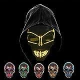 Maschera Smorfia Alimentato Porpora LED Illumina la Maschere,per Halloween Cosplay Feste del Partito Halloween Costumi Foneso Halloween LED Maschere Halloween Accessori