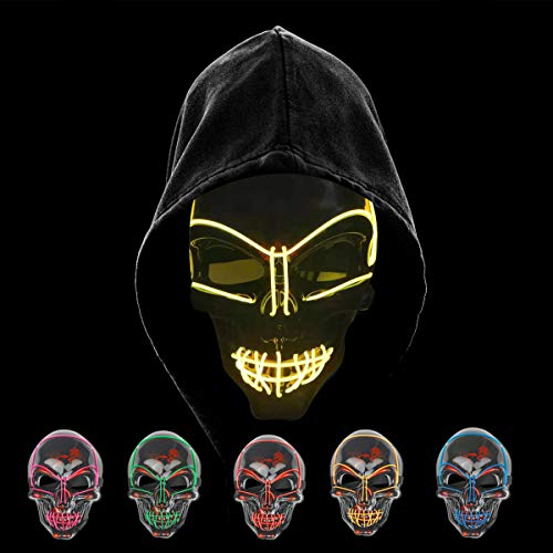 KiraKira Máscara LED Halloween, Halloween LED Máscaras Adultos LED Mask para la Fiesta de Disfraces, Máscara Disfraz Luminosa Craneo Esqueleto (Yellow)