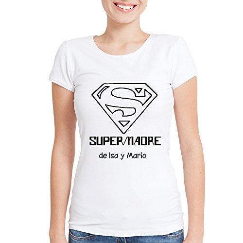 Regalo para Madres Personalizable: Camiseta 'SuperMadre' Personalizada con el Nombre o Nombres Que tú Quieras (Blanca)
