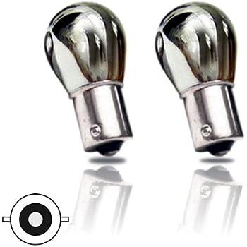 Pair Chrome Silver Offset Pin Indicator Bulb Bulbs Flash Amber Orange 343