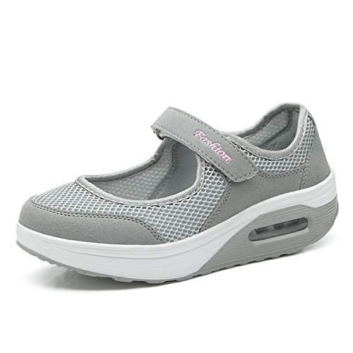 Kauson Mujer Adelgazar Zapatillas de Deporte Cuña Zapatos para Correr Plataforma Sneakers con Cordones Calzado de Malla Air Tacón 5cm Negro Negro Rojo Gris 35-42