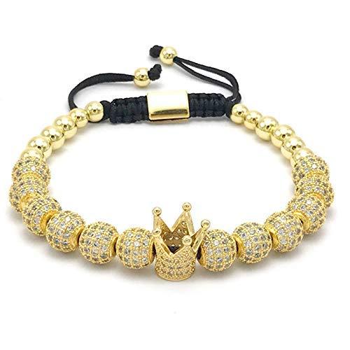 AMITD damesmode keizerkroon armbanden goudkleur micro pave vrouwen vlechten macramé armband mannen sieraden (goud)