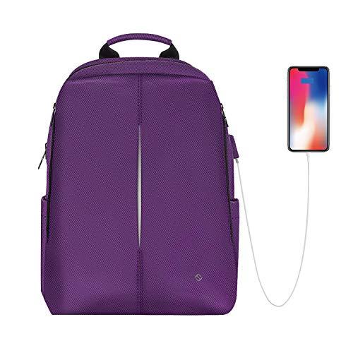 FINPAC Laptop Rucksack 15,6 Zoll, Nano-Molekularer wasserabweisender Schule Daypack aus reißfestem Stoff mit USB-Ladeanschluss für Geschäfts Reisen, College, Damen, Herren, Mädchen, Jungen, Lila