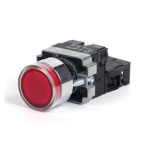 Security Accessory Botón 22 mm Momento XB2-BW3361 Interruptor de botón Redondo con LED/Luz de neón 1NO 24V / AC220V / AC380V Verde, Rojo, Amarillo, Azul (Color : Red NC, Voltage : 12V)