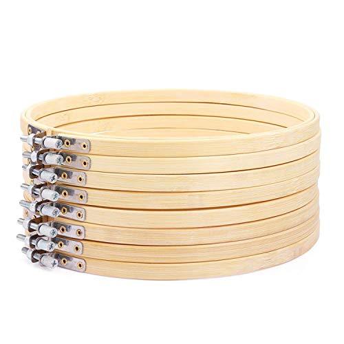 Nrpfell 8 Piezas de Aros de Bordar Redondos de Madera de 8 Pulgadas CíRculo de Bambú Ajustable Anillo de Aro de Punto de Cruz Al por Mayor a Granel para ArtesaníA Costura PráCtica