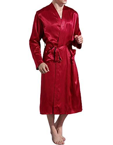 Nuofengkudu Hombre Saten Albornoz Manga Larga con Bolsillo Soft Kimono Japones Batas Peluqueria Color Sólido Pijamas Premama Batas de Casa Novia Boda Sleepwear (Rojo,M)