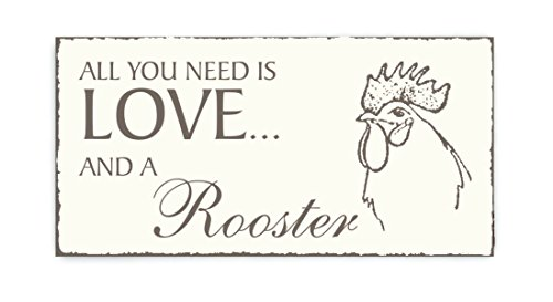 SCHILD Dekoschild « All you need is LOVE and a ROOSTER » kraan houten schild deurschild decoratie vogel ornithologe vogelhuisje boer