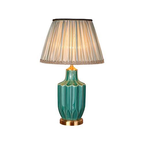 WFL-lámpara de escritorio Tabla de estilo europeo de la lámpara de cobre Tela mesa de cerámica Estudio dormitorio de la lámpara lámpara de cabecera del hotel Sala lámpara decorativa Lámpara de mesa Lá