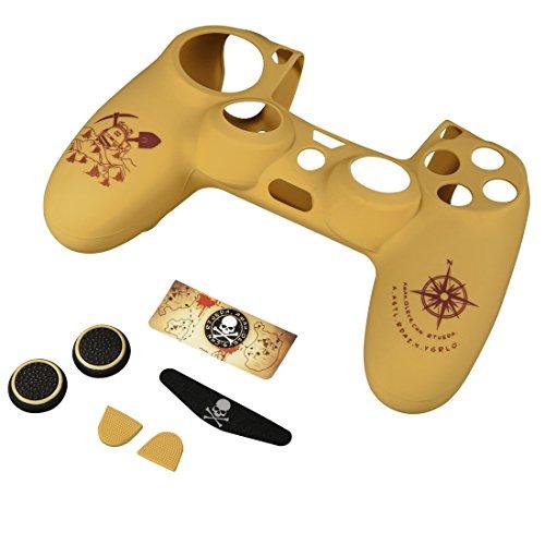 Hama 7-in-1 Zubehör Set (für PS4/PS4 Slim/PS4 Pro Adventure, für Dualshock 4 Controller, Skin Silikonhülle, Stick-Aufsätze, Touchpad Schutzfolie, Lightbar Sticker, Uncharted Motiv) custom beige