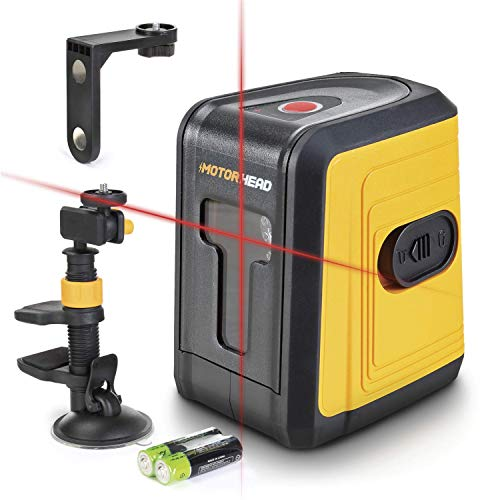MOTORHEAD 50-Ft Self-Leveling Red Cross-Line Laser Level, Horizontal & Vertical Beams, w/ 1/4in Tripod Mount, Magnetic, Suction & Clamping Mount, Batteries, Water & Dust Resistant, USA-Based Support