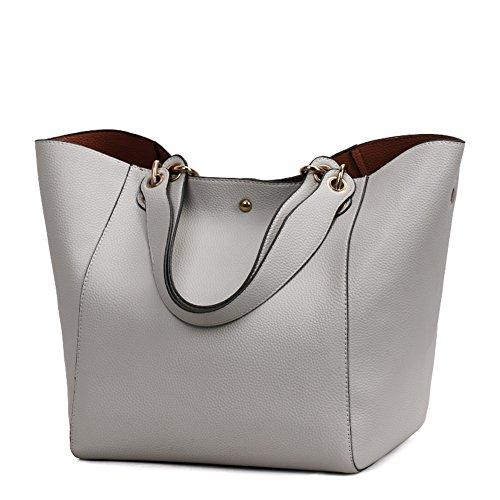 Valleycomfy Damen Tasche Einkaufstasche Pu Leder Handtasche Schultertasche (Grau)