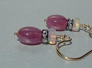 Pendientes de zafiro rosa, pendientes de rubí, pendientes de ópalo etíope, pendientes de ópalo, pendientes de zafiro, pend...