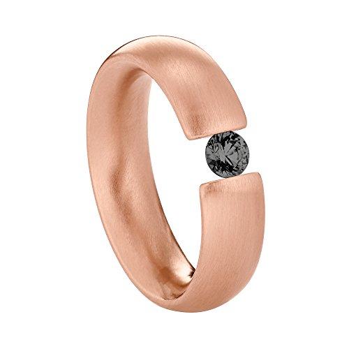 Heideman Ring Damen Intensio aus Edelstahl Rosegold farbend matt Damenring für Frauen mit Swarovski Stein Zirkonia schwarz im Brillant Schliff 4mm