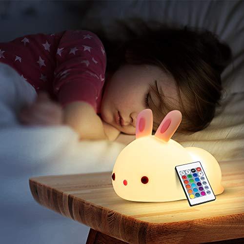 Luz Nocturna Infantil para Niños,Lampara Quitamiedos Infantil con Control Remoto,Conejo Luz Niños Quitamiedos de Silicona 7 Colores Regulableluz Decoración para Habitación Regalos para Bebé/Mujer
