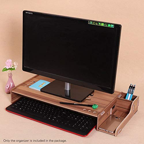 HOMEDAI Madera de la computadora Soporte Vertical con el Organizador del almacenaje, el Soporte del Monitor Desmontable Vertical, Ordenador portátil ergonómico Vertical del Soporte,A