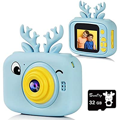 Suncity Kids Camera for Boy Toys Boy Gifts Digital Cameras 2.0 Inch Screen Video Camcorder with 32GB Card for Age 3 4 5 6 7 8 9 10 11 Year Old Children Cartoon Toddler Camera Birthday