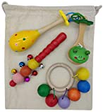 Gerileo Cesto de los Tesoros Montessori Musical con Bolsa de Tela - Los Sonidos - Instrumentos y Juguetes Musicales de Madera - Sonajeros Maracas castañuelas cascabeles Anillas - heurístico
