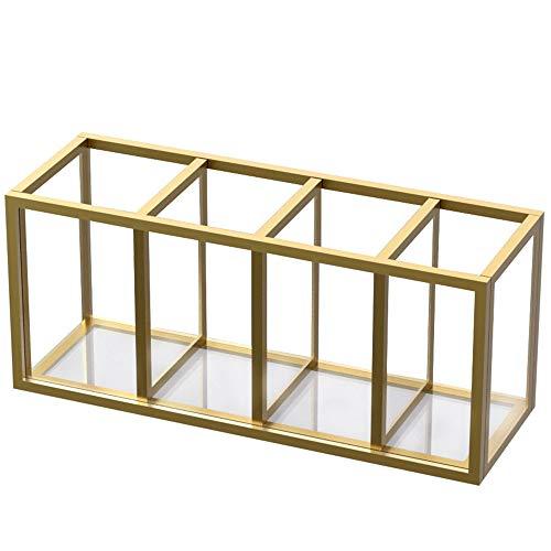 NIUBEE Acrylic Pen Holder 4 Compartments, Gold Copper Border Pencil Organizer Cup for Countertop Desk Accessory Storage
