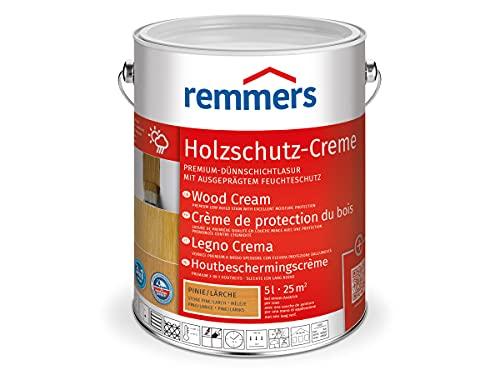 Remmers Holzschutz-Creme pinie/lärche, 5 Liter, Profi-Holzschutz in Cremeform, dekorative Premium Holzlasur für aussen, 3facher Holzschutz mit Imprägnierung + Grundierung + Lasur