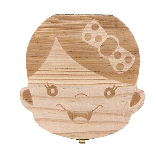 anboo diente caja organizador caja de almacenamiento de madera para bebé Niños Boy & Girl leche dientes Save