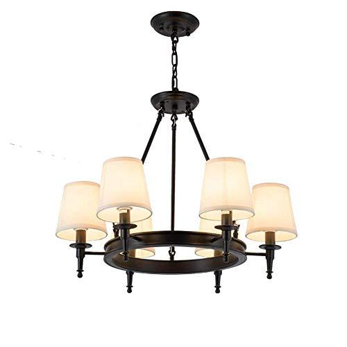 GLXLSBZ Lámpara de techo vintage de hierro negro con pantalla de tela blanca moderna y clásica colgante Li(iluminación del hogar)