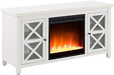 Henn&Hart Crystal Fireplace Insert TV Stand, White Oak