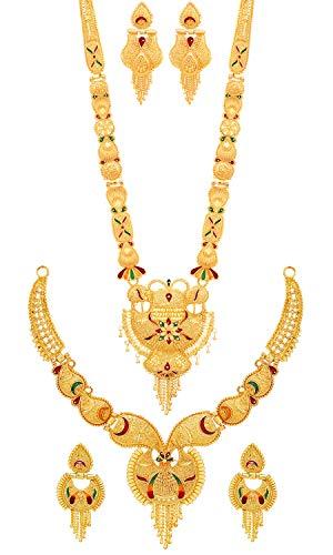 Mansiyaorange Combo of Two Party One Gram Gold Forming Premium Long Haram...