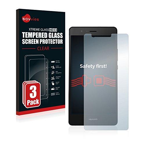 Savvies Panzerglas kompatibel mit Huawei P9 (3 Stück) - Echt-Glas, 9H Festigkeit, Anti-Fingerprint