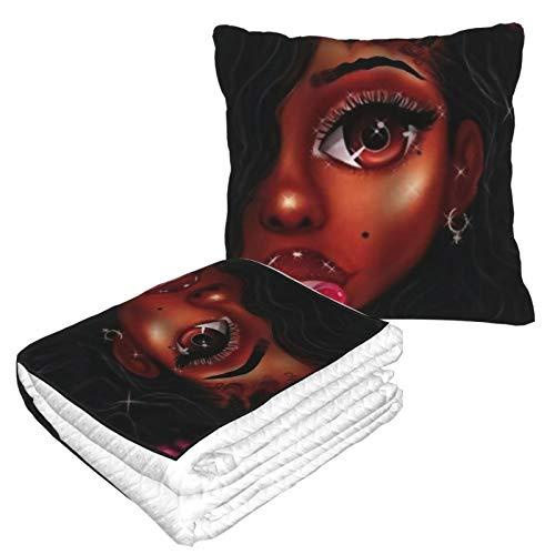 KIMDFACE Manta de Viaje súper Suave,Hermosa Mujer Negra Comiendo una piruleta es Brillante,Manta Plegable,Almohada cómoda